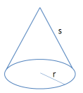 dimensions of a cone, radius and slant height